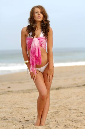 Beautiful beach bikini girl Stock Photo - 4545497