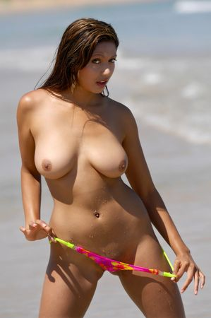 erotic fantasy: Sexy topless beach girl