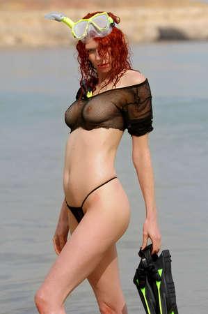 Sexy beach girl wearing scuba gear Stock Photo - 4968025