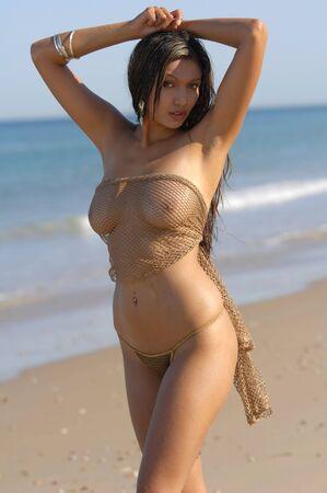 adult breast: Sexy beach girl