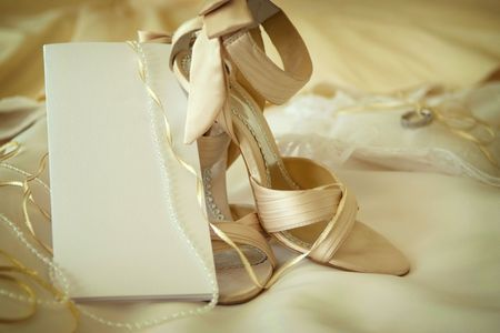 Wedding dress,shoes & blank invitation card