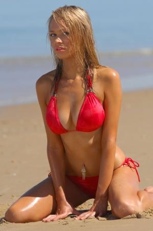 nakedness: Sexy beach bikini girl.