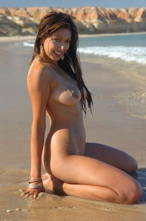 tetas: Chica sexy playa desnuda  Foto de archivo