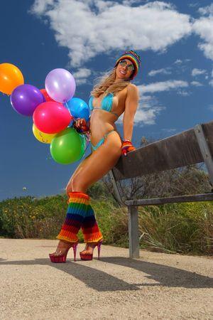 legwarmers: Sexy bikini girl with colorful balloons