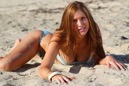 nakedness: Beautiful beach bikini girl
