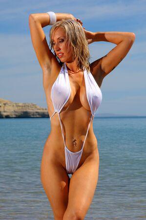 sheer: Sexy bikini girl Stock Photo