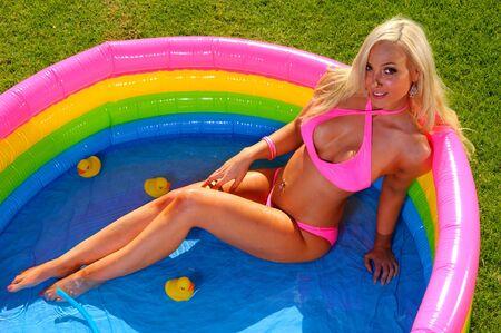 Beautiful fun bikini girl Stock Photo - 9998284