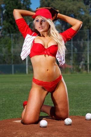 guante de beisbol: Chica sexy de béisbol