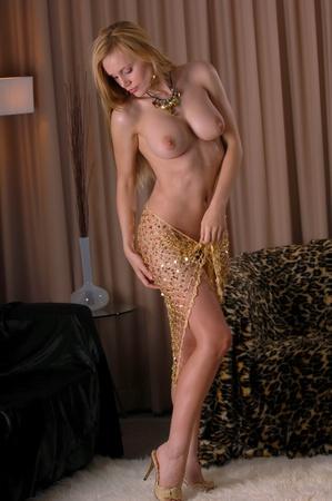 girl sexy nude:  Chica sexy desnuda posando en malla de oro  Foto de archivo