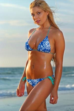 beachwear: Beautiful beach bikini girl