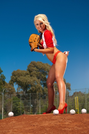 Sexy baseball girl  Stock Photo - 12373526