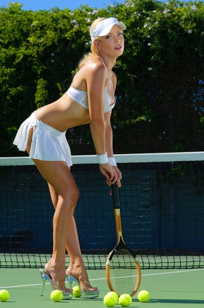 Sexy tennnis girl  Stock Photo