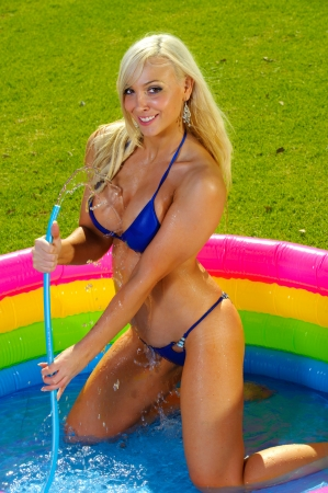 Beautiful fun bikini girl Stock Photo - 12924668