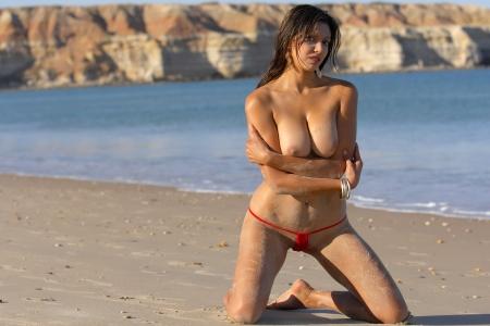 erotic fantasy: Sexy topless beach girl  Stock Photo