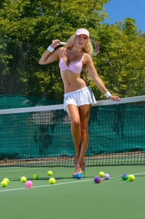 sheer lingerie: Sexy tennis girl