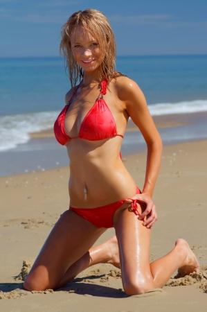 provocative: Beautiful beach bikini girl