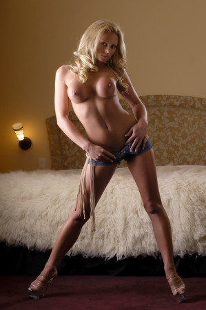 Sexy topless blonde woman