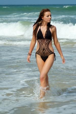 erotic fantasy: Sexy beach bikini girl  Stock Photo