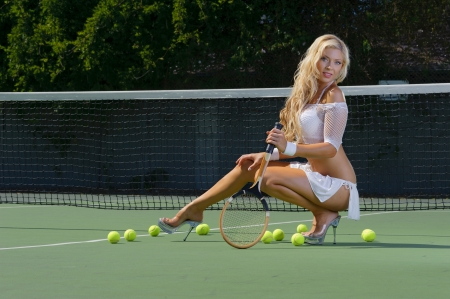tennis skirt: Sexy tennnis girl  Stock Photo