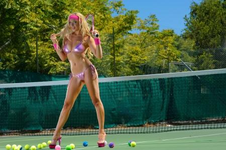 sheer lingerie: Sexy tennnis girl  Stock Photo