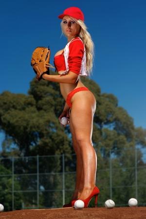 sheer lingerie: Sexy baseball girl