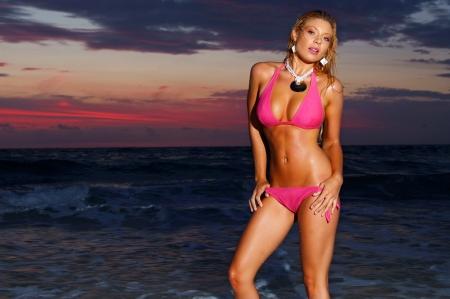 Beautiful beach bikini girl
