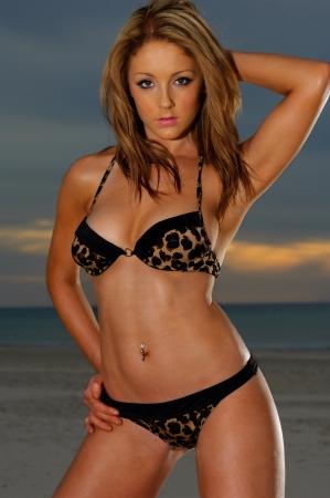 tanned woman: Beautiful beach bikini girl