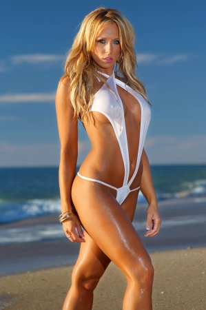 nakedness: Sexy beach bikini girl  Stock Photo