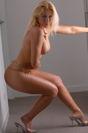 topless: Sexy topless blonde woman
