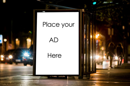 building wall: Outdoor advertising bus shelter Stock Photo