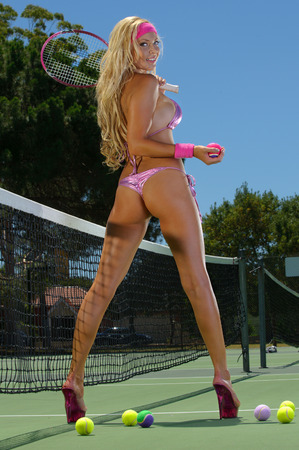 chica sexy: Chica Sexy tenis Foto de archivo