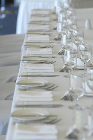 Wedding reception table decorations Foto de archivo