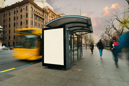 billboards: Blank outdoor bus advertising shelter Stock Photo
