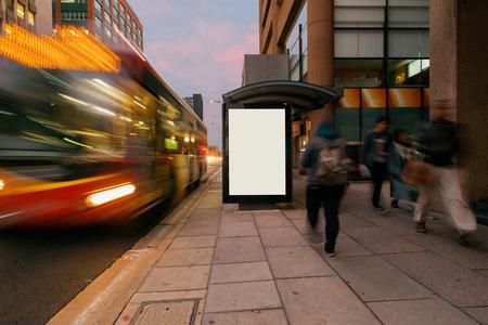 Blank outdoor bus advertising shelter Archivio Fotografico