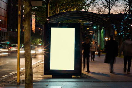 Blank outdoor bus advertising shelter Foto de archivo