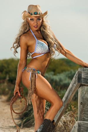 vaqueras: Sexy Cowgirl  Foto de archivo