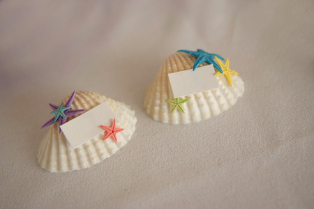 Sea shell blank wedding place cards