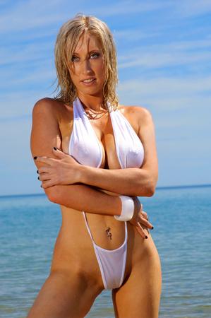 Sexy beach bikini girl photo