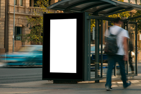 building wall: Blank outdoor advertising bus stop shelter Stock Photo