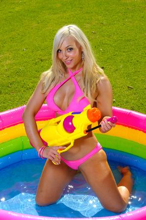 Beautiful fun bikini girl photo