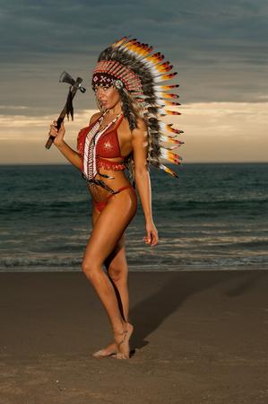 skimpy: Sexy woman wearing American Indian war bonnet