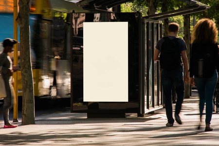 Blank outdoor advertising shelter