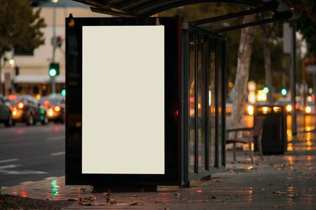 Outdoor advertising bus shelter Foto de archivo
