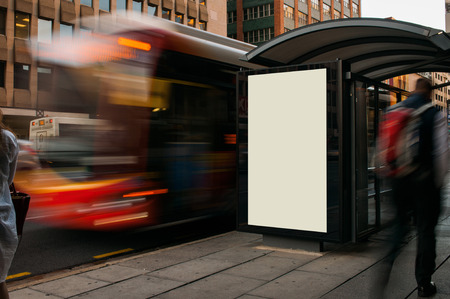 street signs: Blank outdoor advertising bus stop shelter Stock Photo