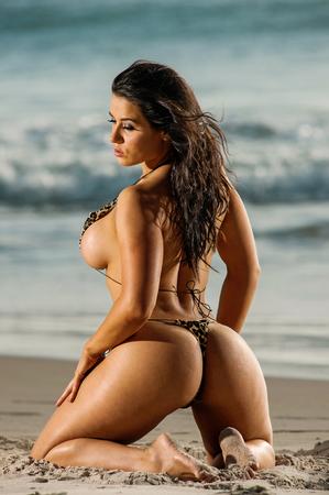 Sexy beach g-string bikini girl Stock Photo
