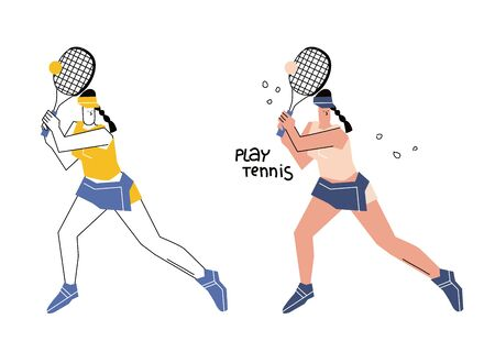 Female tennis player hand drawn illustration