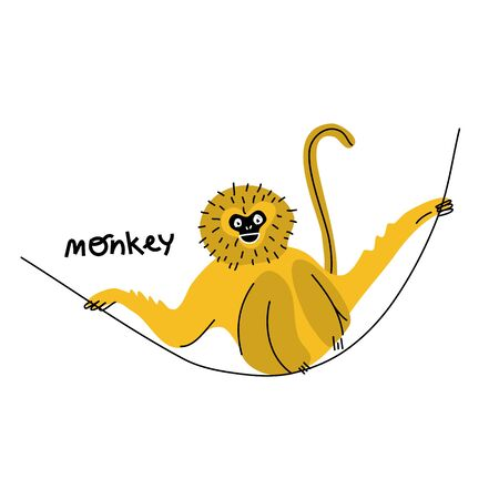 Cute funny exotic monkey Illustration