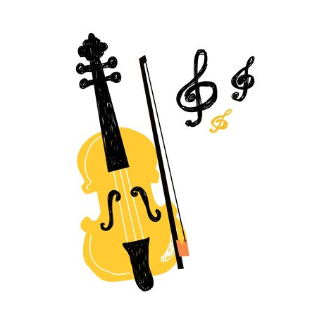 Violine icon. Outline illustration for web design isolated on white background. Violin and bow isolated on white background. Concept of music and entertainment. Creative design