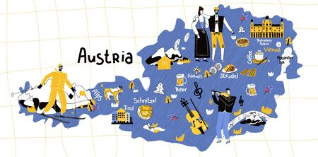 Austria map flat hand drawn vector illustration. Names lettering and cartoon landmarks, tourist attractions cliparts. Vienna travel, trip comic infographic poster, banner concept design