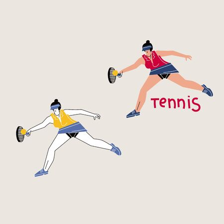 Female tennis player hand drawn illustration. Sportswoman with handwritten lettering composition. Backhand shot technique. Racquet sport playing. Girl flat character hitting tennisball